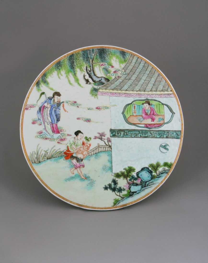 A Cantonese Circular Plaque . Decorated with figures in