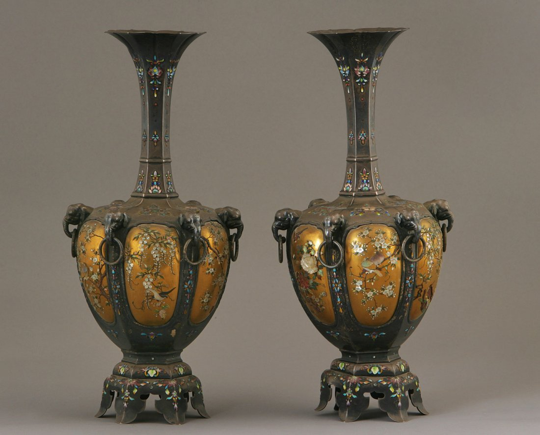 A Pair of Japanese Shibayama Silver Vases. Meiji period