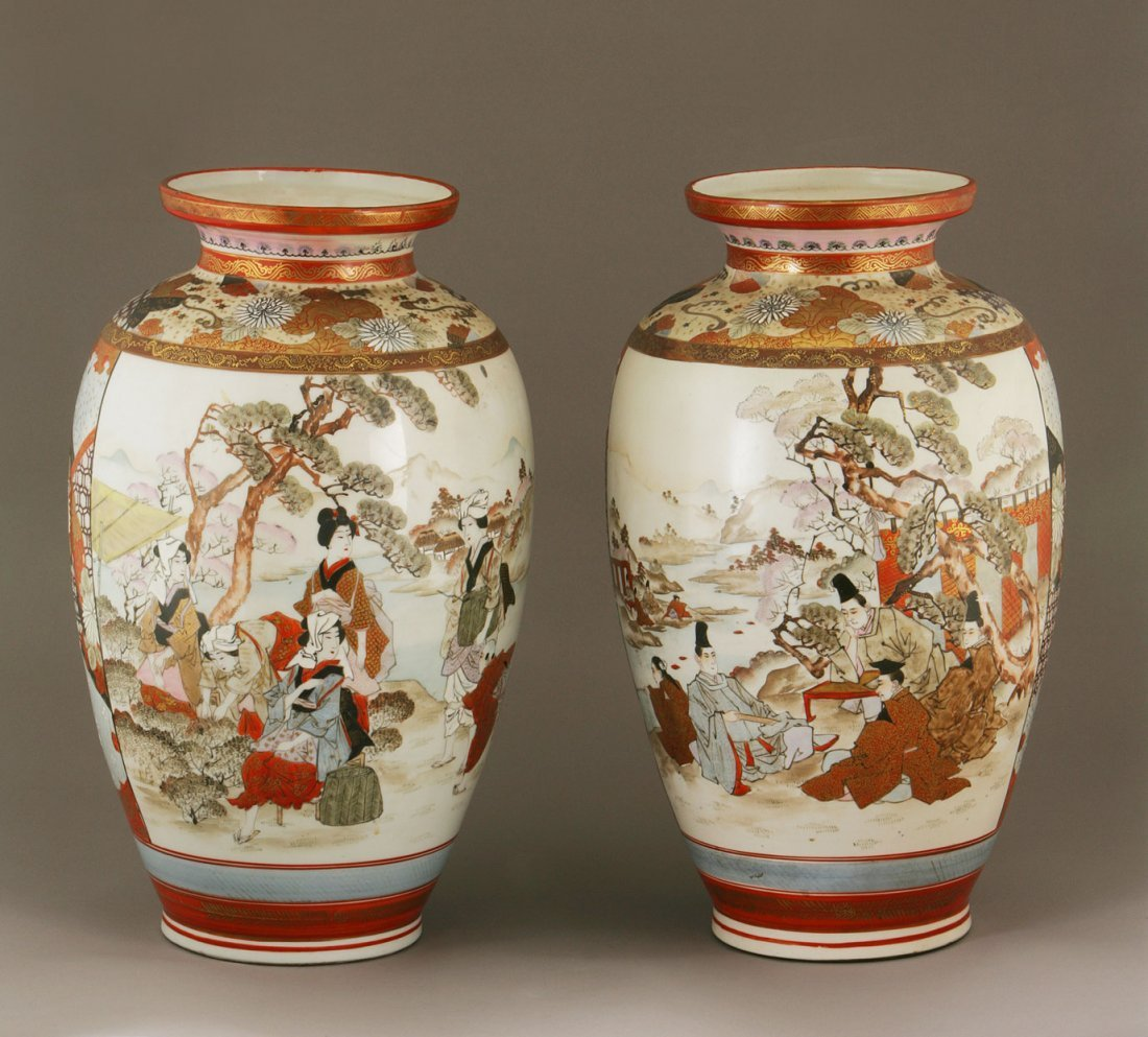 A Large Pair of Japanese Satsuma Vases. Probably (1868-