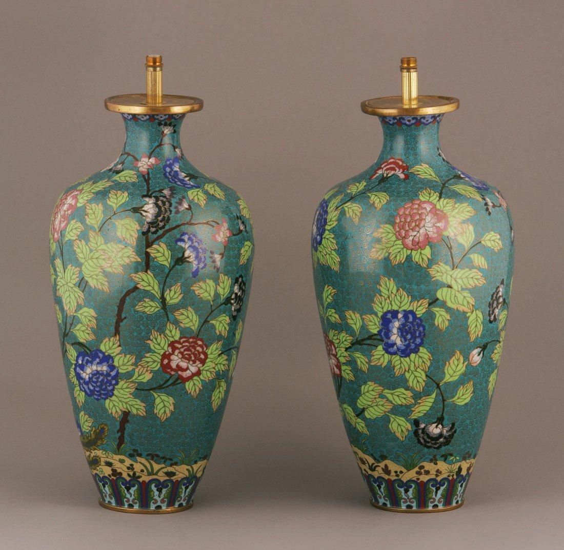 A Pair of Cloisonne Vases, now converted to electric la
