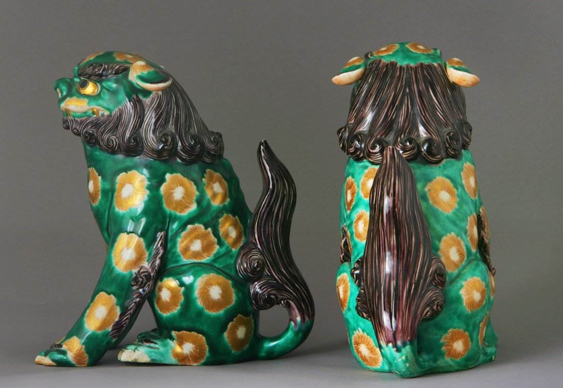 A Pair of Chinese Glazed Pottery Fo Dogs. Late 19th ear