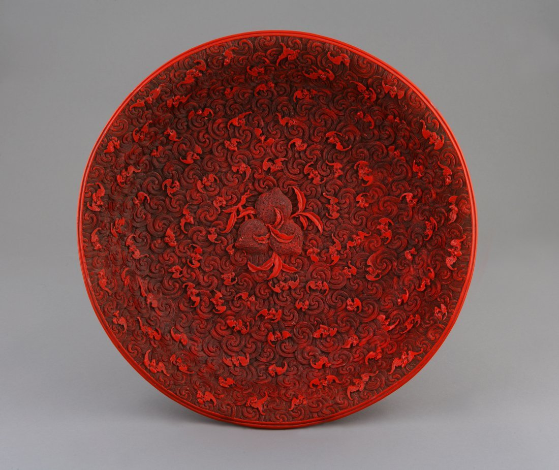 A Fine Japanese Red Lacquer Charger. Meiji (1868-1912).