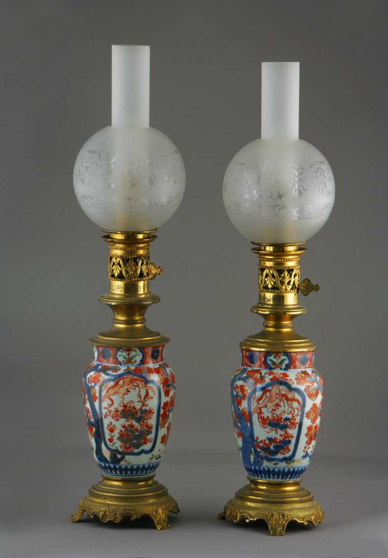 A Near Matching Pair of Japanese Imari Lamps. Now Fitte