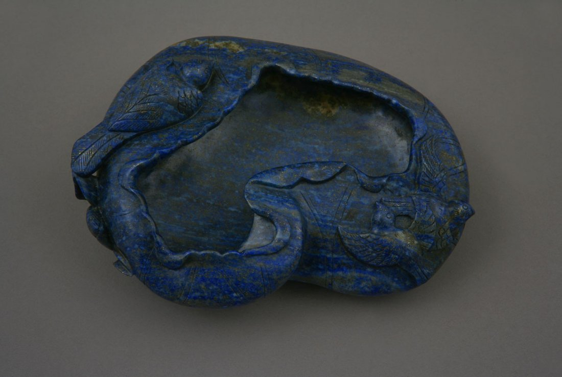 A Chinese Lapis Lazuli brush pot. Carved with lotus lea