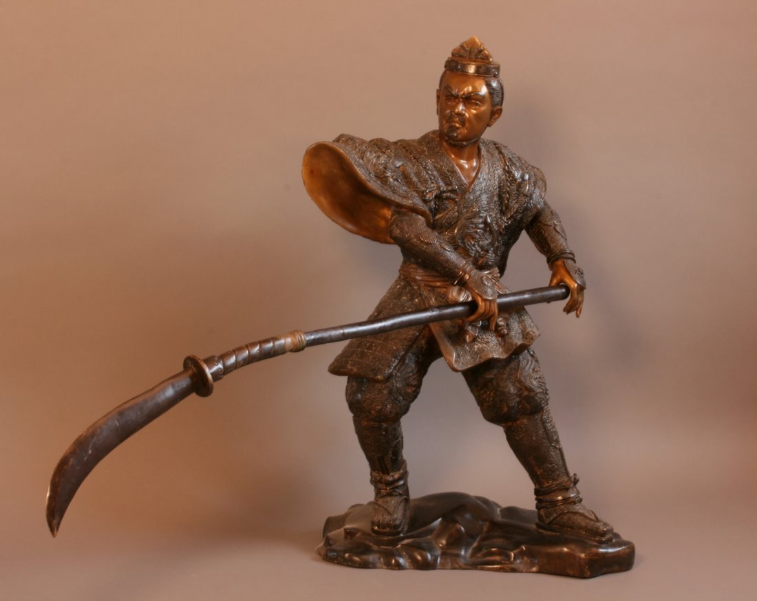 A Fine and large Japanese Bronze of a Samuri warrior. M