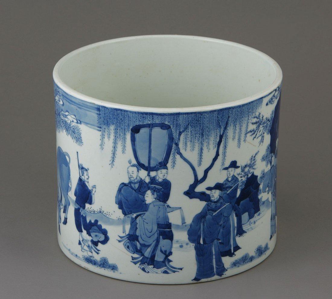 A Chinese Blue and White Brush Holder (BITONG) Kangxi (