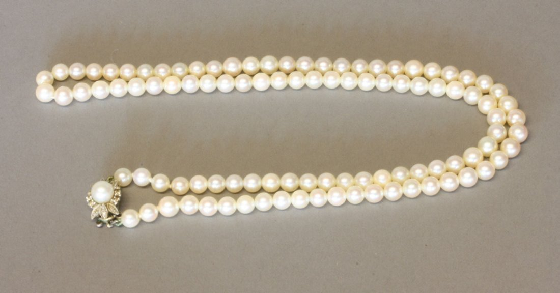 A Cultured Pearl necklace. Modern. Set in white 9carat