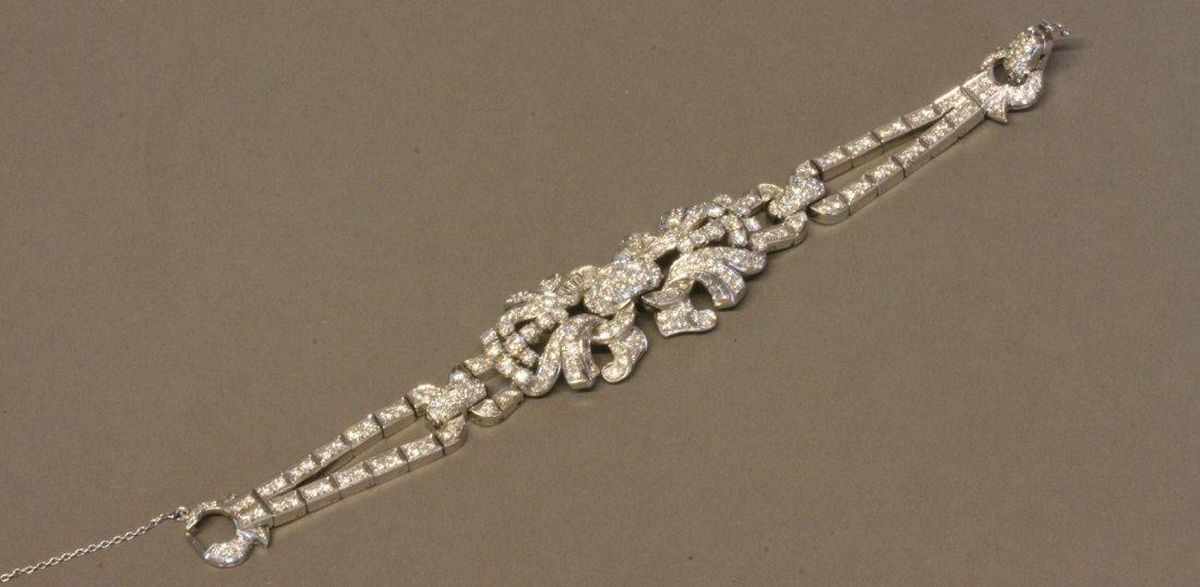 A French Diamond and Platinum Set bracelet. Circa 1950.