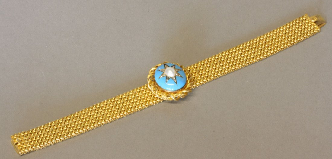 A Fine Victorian High Carat Yellow Metal Turquoise