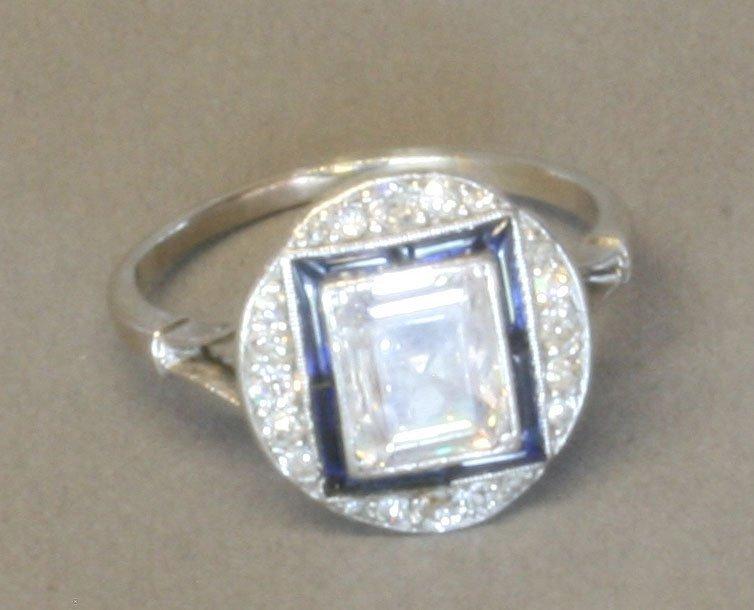 An Art Deco Diamond and Sapphire Lady's Dress Ring.