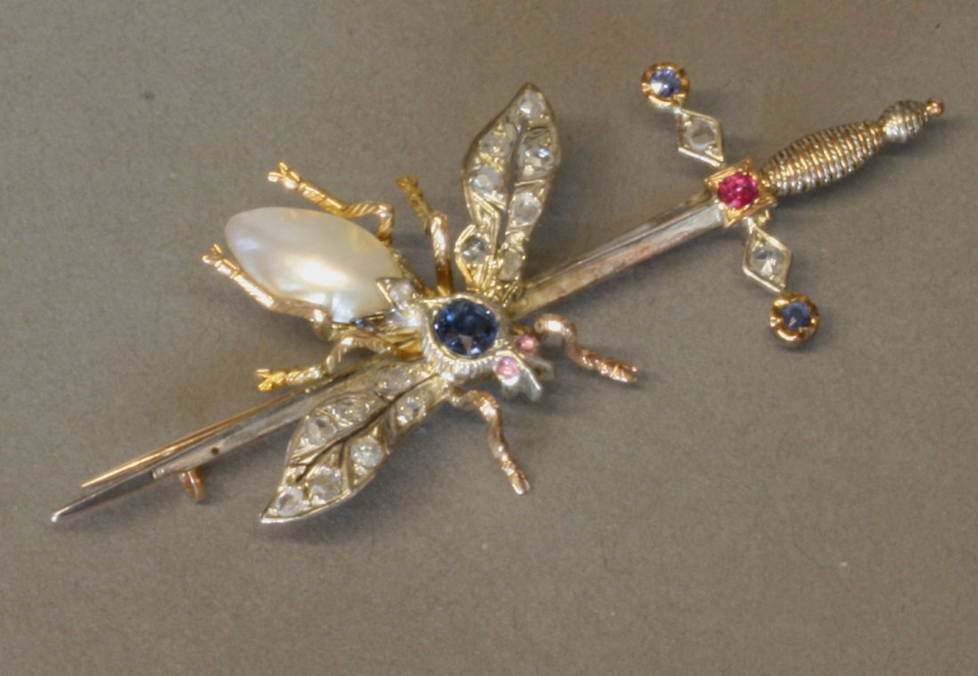 A Fine Diamond Ruby Sapphire and Baroque Pearl