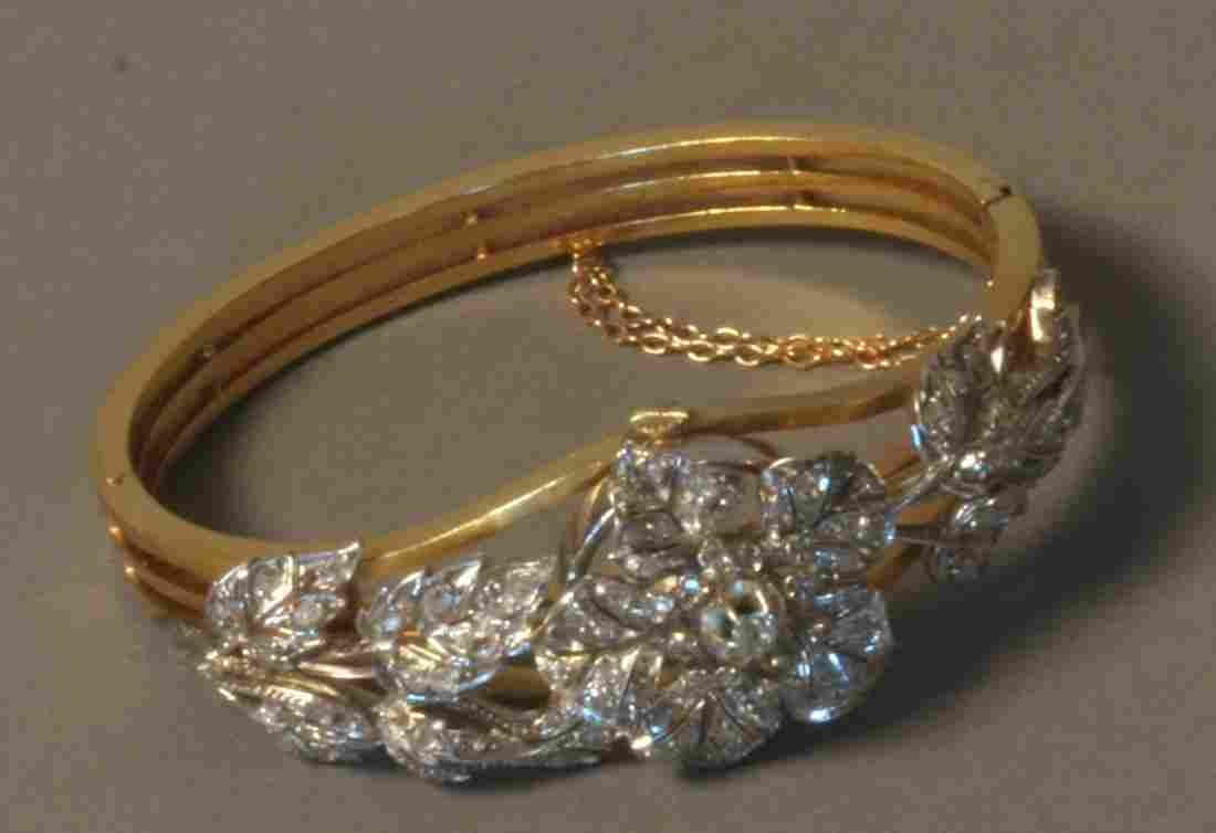 A Fine Antique French Diamond set Bangle. Set in 18
