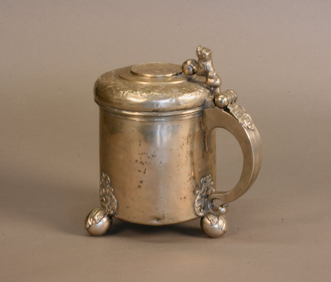 A Scandinavian Silver Peg Tankard. Late 18th century or