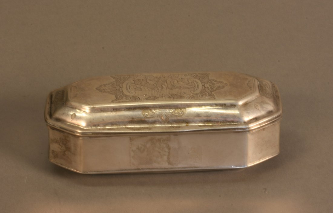 A German Table Snuff Box. 18th century. Of shaped