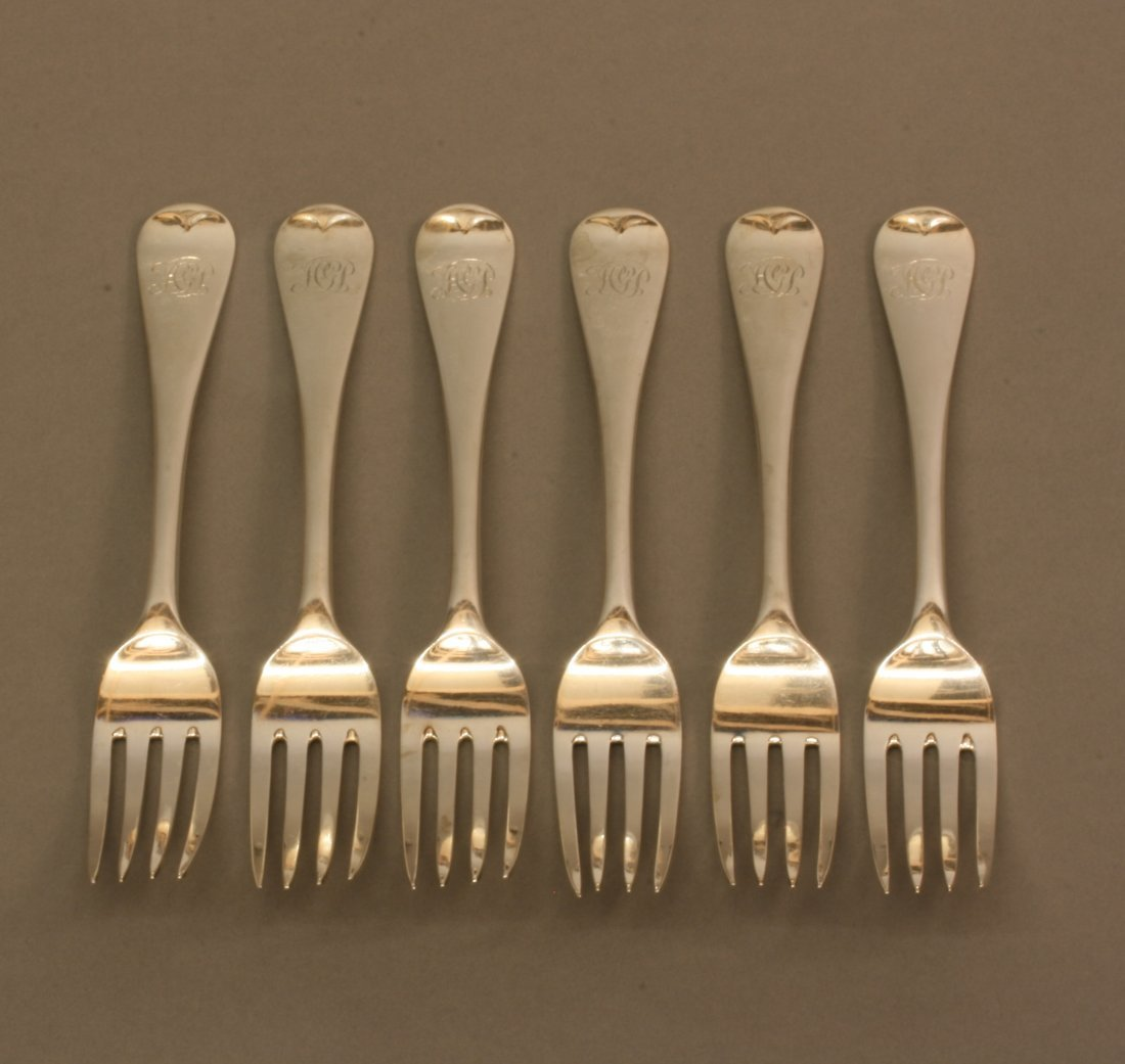 Six Late Victorian Old English Pattern Table Forks.