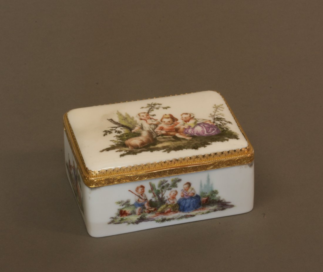 A Fine Mid Eighteenth Century Meissen and Gold Mounted