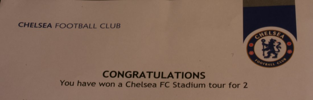Chelsea FC stadium Tour for two people.