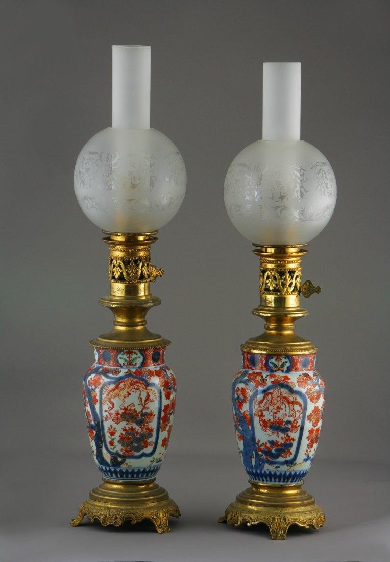 Near Matching Pair of Japanese Imari Lamps