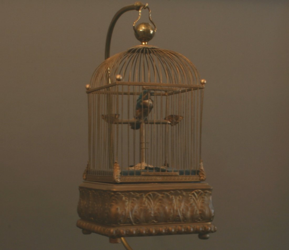 A Fine French Automaton Singing Bird in Gilt Brass Cage