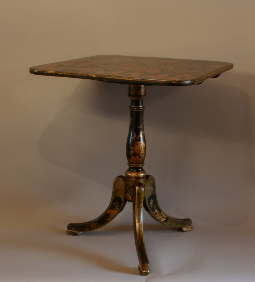 A George III Chinese Laquered Tilt Top Table