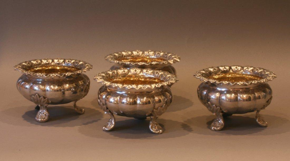 A Fine Set of Four William IV Salt Cellars