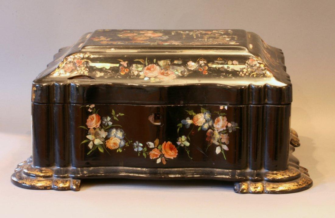A Fine Papier Mache Lady's Sewing box