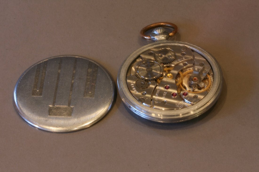 German Chromium Plated Open Faced Keyless Pocket watch