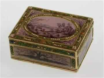 A Fine Gold and Enamel Louis XVI boite a mouches.