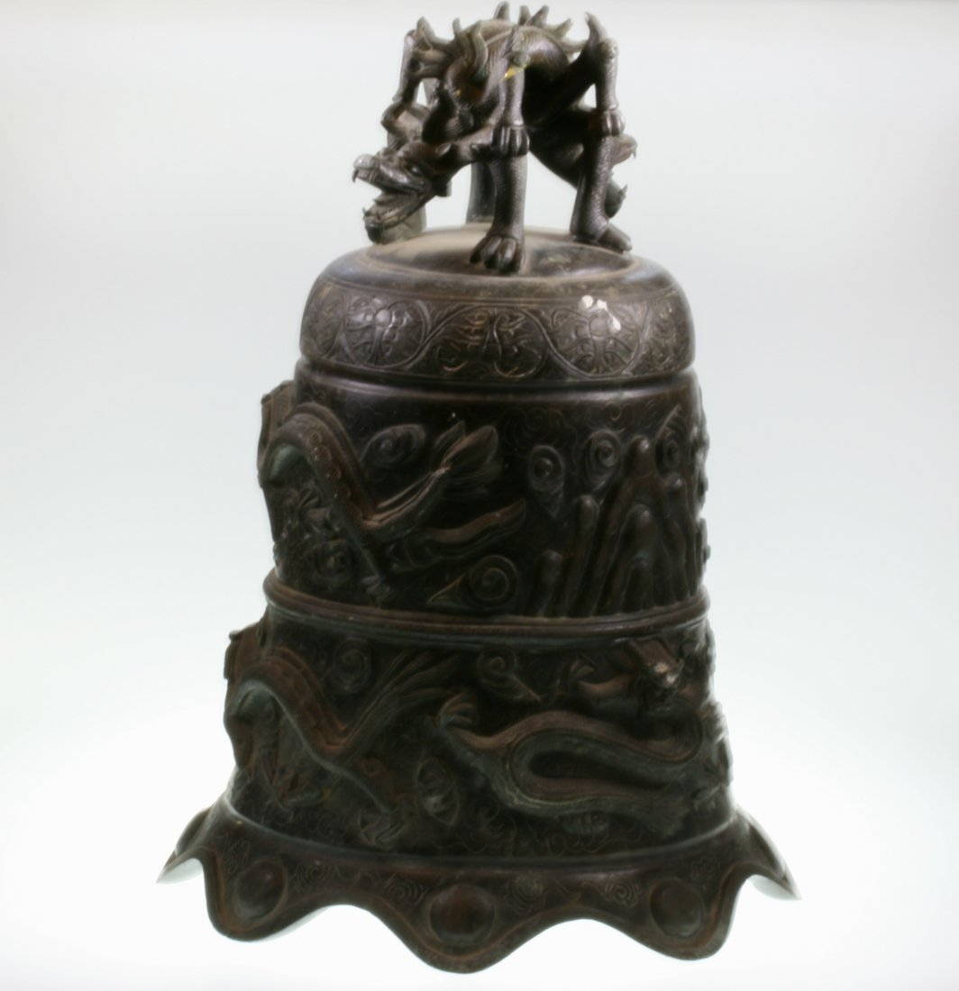 A Chinese Antique Bronze Temple Bell. 19th century.