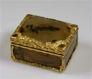 A Fine French Gold Mounted and Banded Agate Box. Early