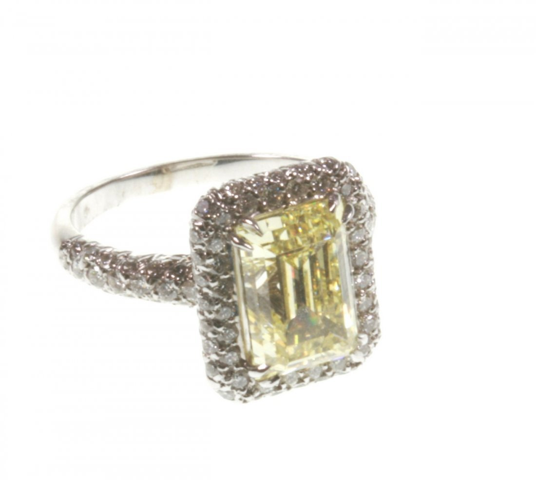 A Natural Fancy Yellow Diamond Dress Ring. 3.75 carats