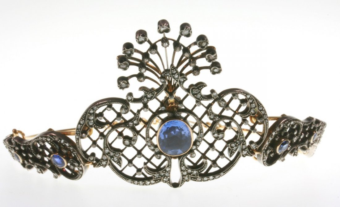 An Edwardian Sapphire and Diamond Set Tiara. Set in
