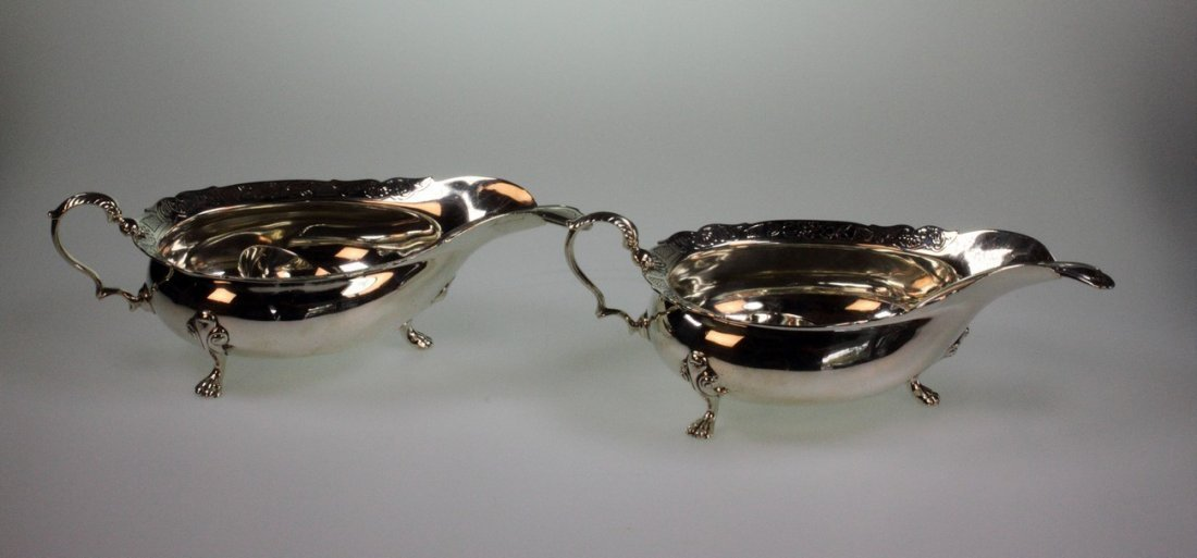 A Pair of Scottish Sauce Boats and matching Ladles