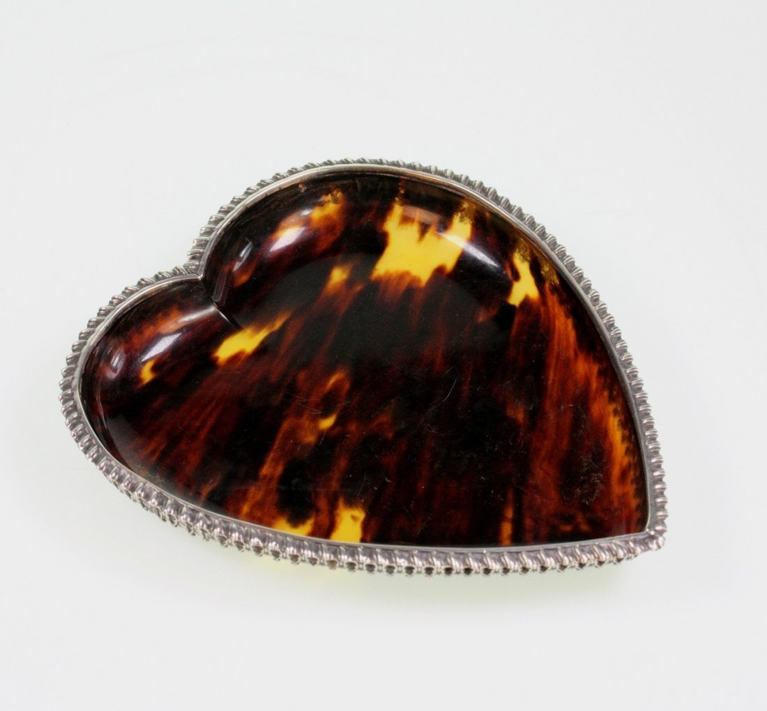 A Victorian Silver and Tortoiseshell Heart Shaped Pin