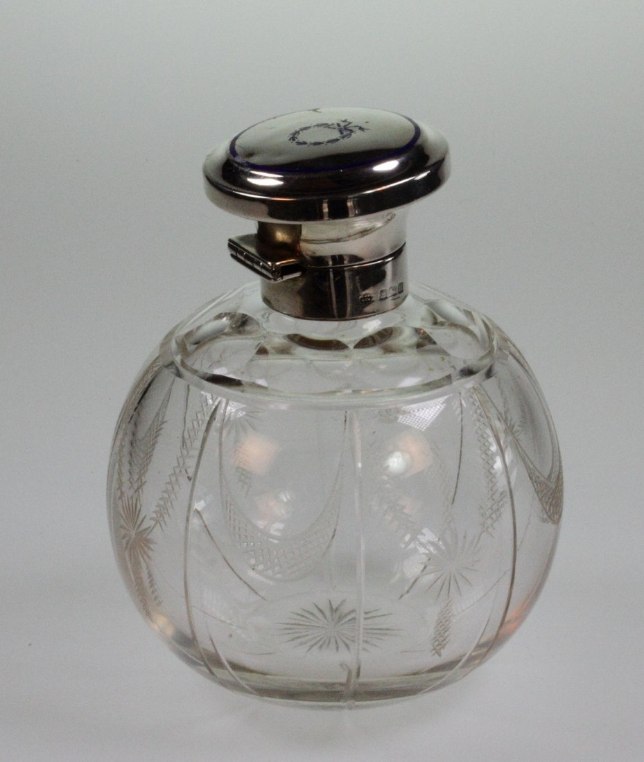 A George V Silver and Blue Enamel Topped Scent Bottle