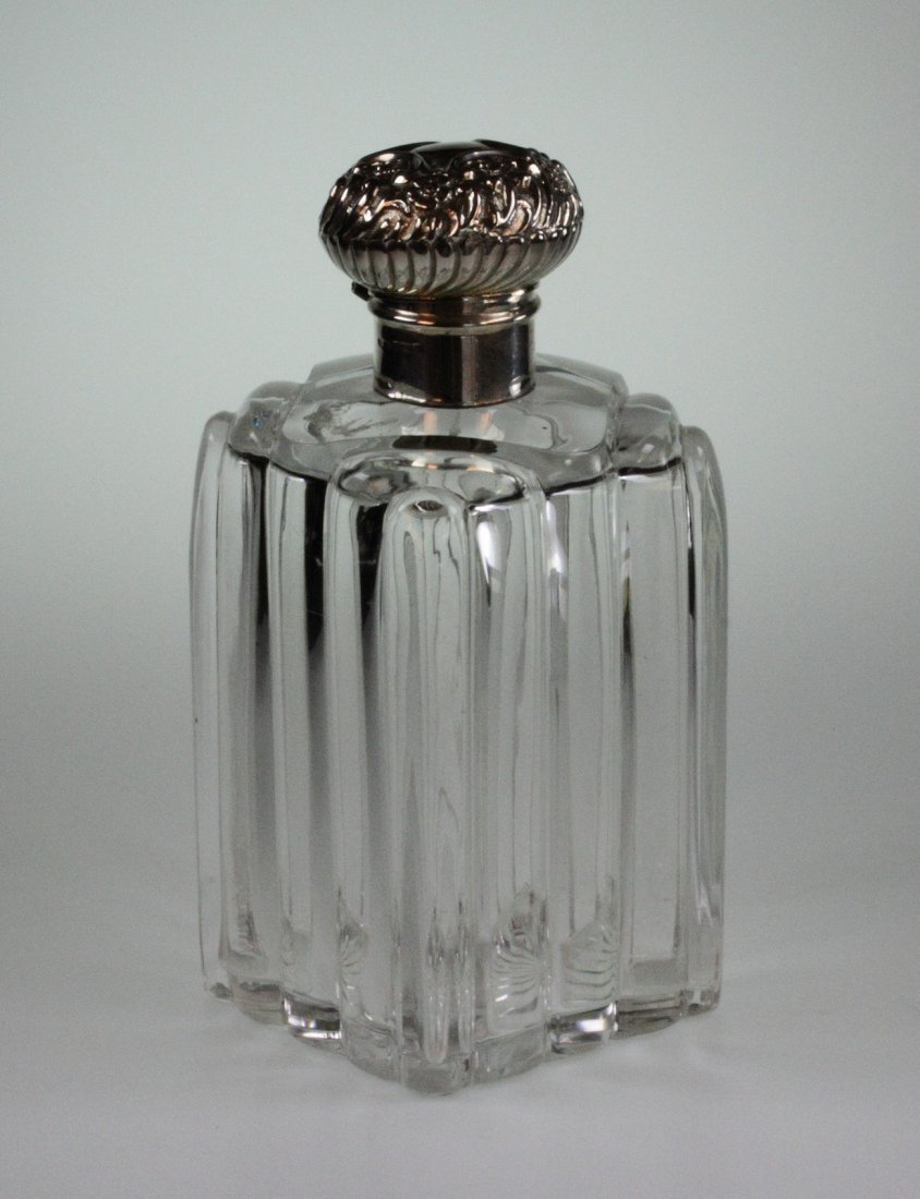 A Large Edwardian Silver Topped Scent Bottle