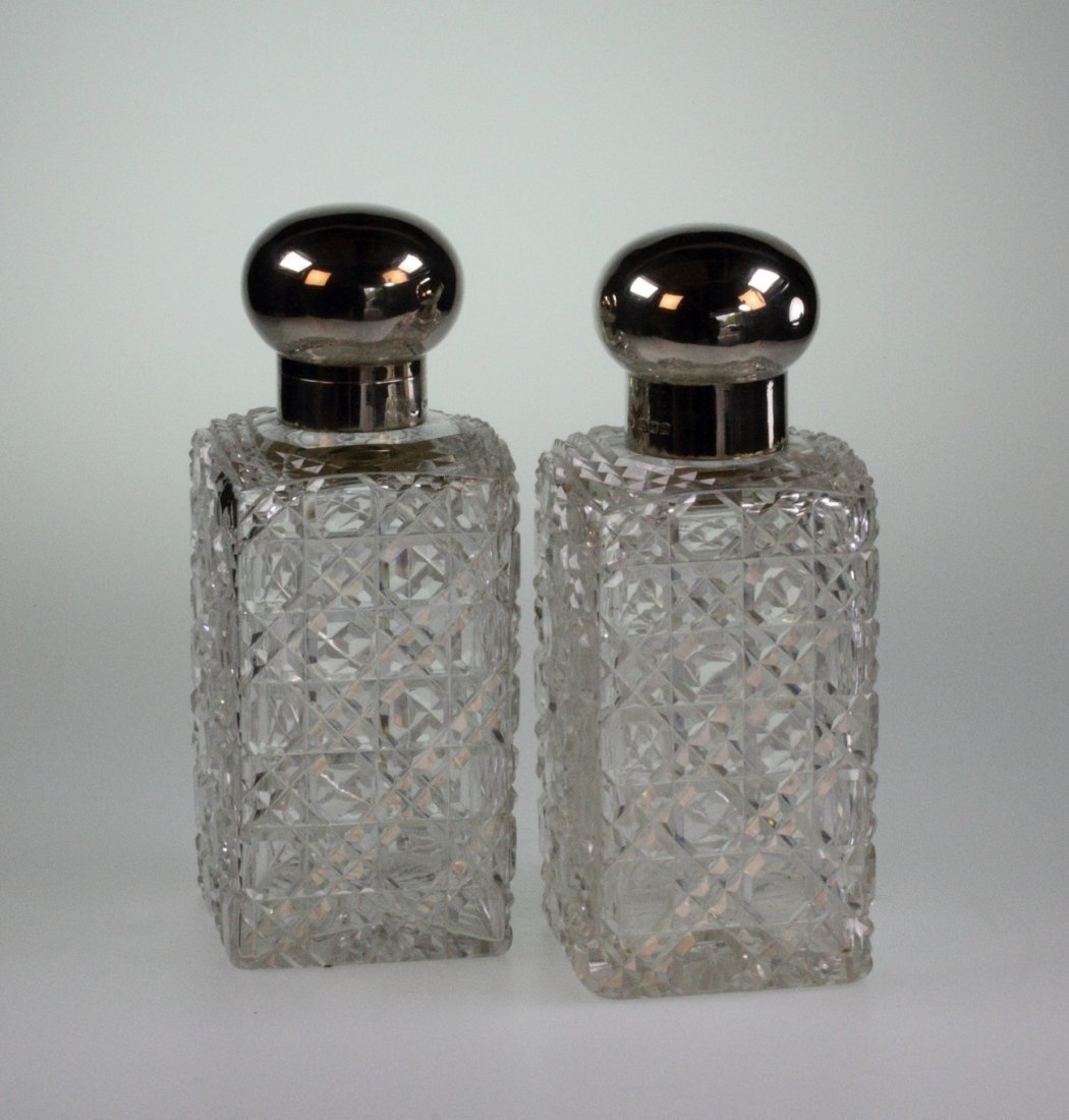 A Pair of George V Silver Topped Scent Bottles