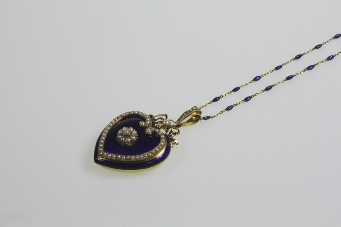 A Fine Late Victorian Yellow Gold, Seed Pearl and Blue
