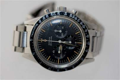 An Omega Speedmaster. Circa 1961. The 30 mm black dial