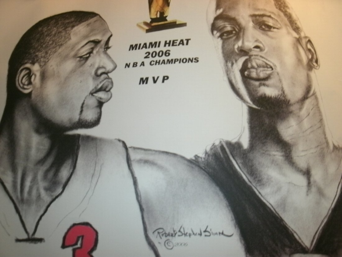 003: Dwayne Wade Miami Heat Signed Lithograph Robert St