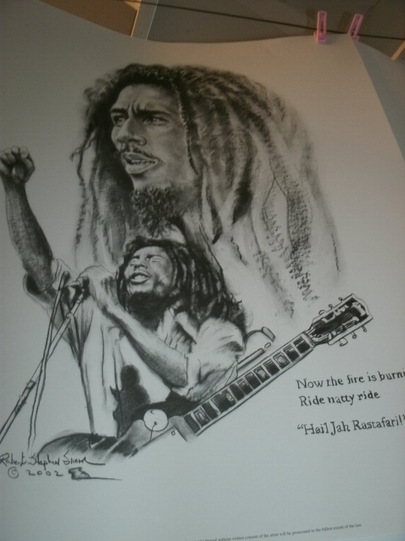 005: Bob Marley Signed Lithograph by Robert Stephen