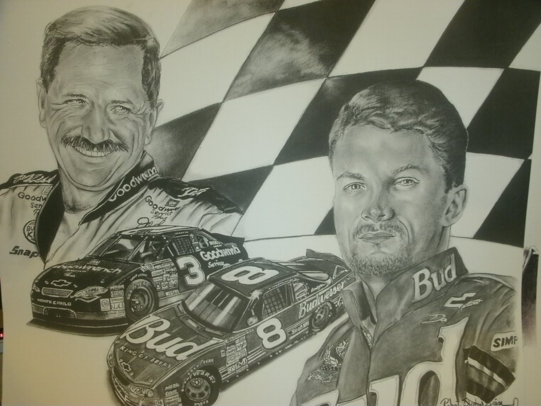 008: Earnhardt Jr. & Sr. Signed Lithograph Robert Steph