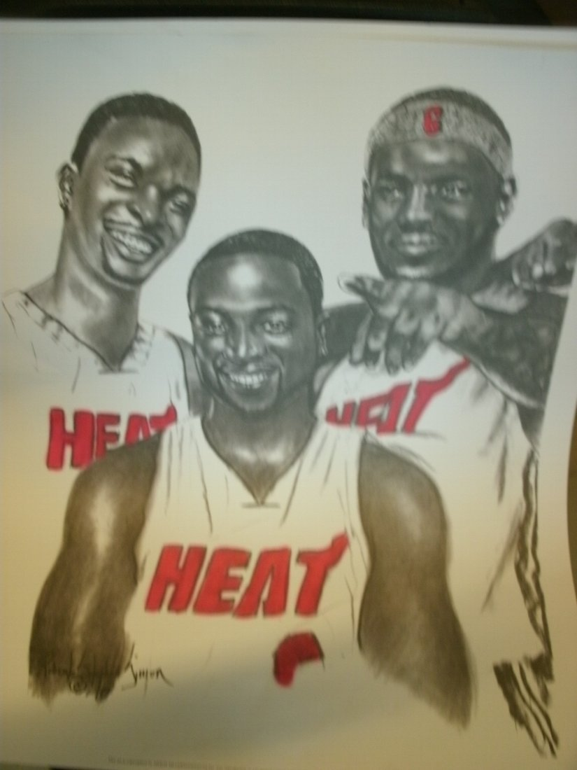 009: Miami Heat All-Stars  Signed Lithograph Robert Ste