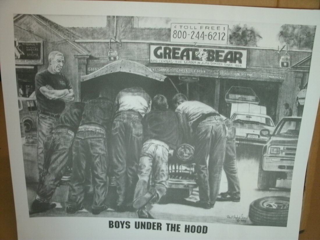 015: Boys Under The Hood-Mechanics Signed Lithograph by