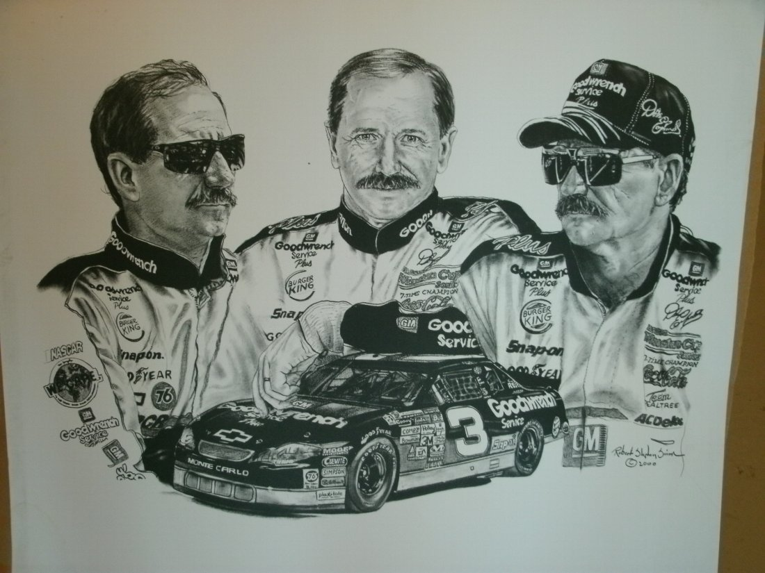 016: Images Of Dale Earnhardt Sr. # 3 Signed Lithograph