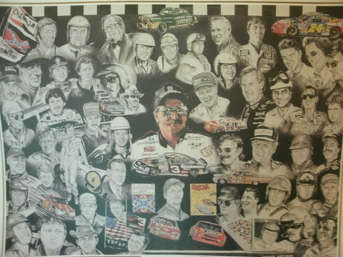 018: Legends of Nascar Racing Earnhardt Signed Lithogra