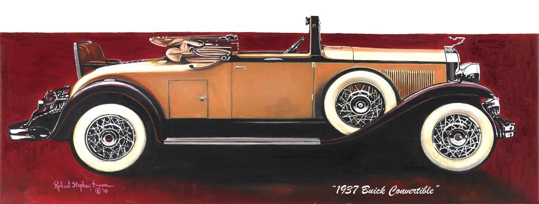 024: 1937 Buick Hand Painted Oil On Canvas Signed By Ar