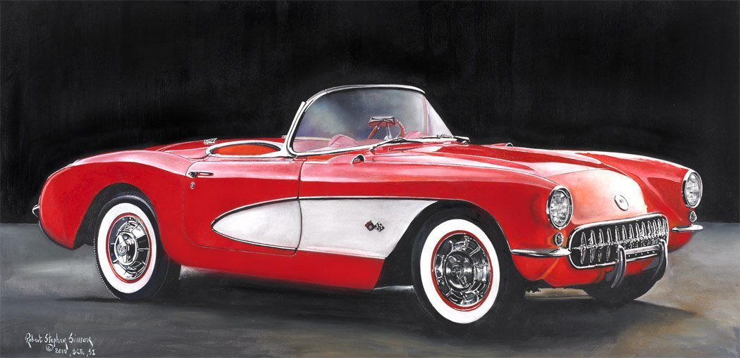 025: 57 Corvette Hand Painted Oil On Canvas Signed By A