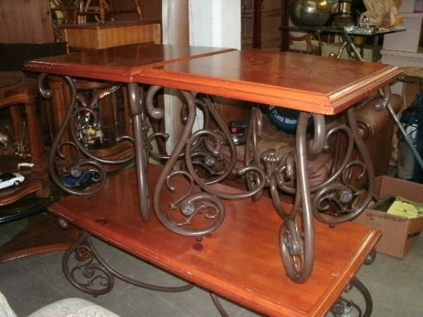 228 Wrought Iron And Wood Coffee Table U0026 2 End Tables