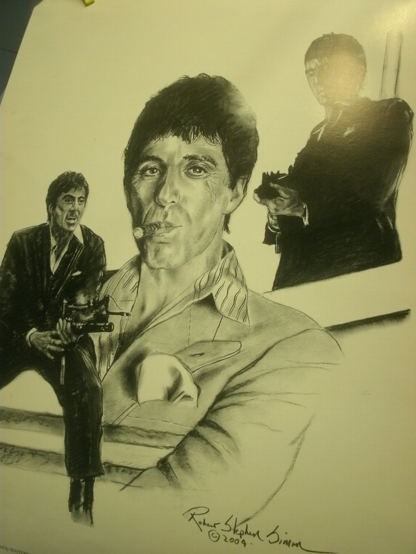 Al Pacino In Scarface Signed Lithograph Robert Stephen